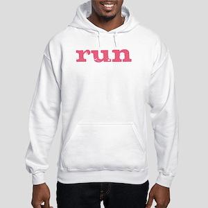 run - pink Hooded Sweatshirt