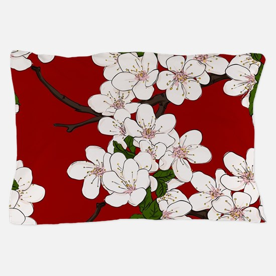 Cherry Blossoms on Red Pillow Case