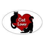 Fat Cat & Cat Lover Sticker (Oval)
