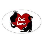 Fat Cat & Cat Lover Sticker (Oval)