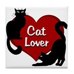 Fat Cat & Cat Lover Tile Coaster