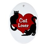 Fat Cat & Cat Lover Oval Ornament