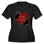 Fat Cat & Ca Women's Plus Size V-Neck Dark T-Shirt