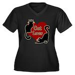 Fat Cat & Ca Women's Plus Size V-Neck Dark T-Shirt