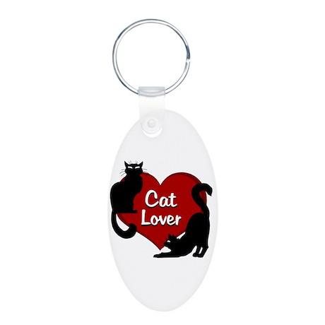 cat lover Aluminum Oval Keychain