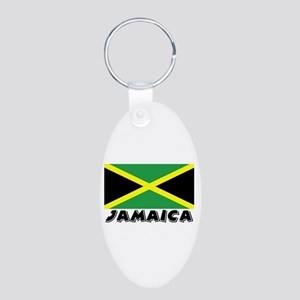 Jamaica Flag (World) Aluminum Oval Keychain