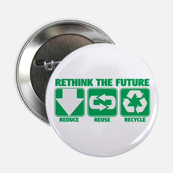 """Rethink The Future, Recycle 2.25"""" Button"""
