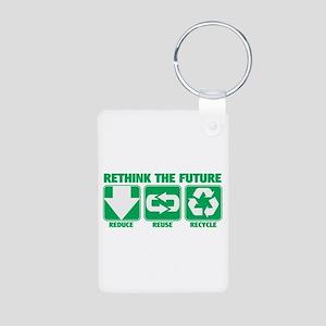 Rethink The Future, Recycle Aluminum Photo Keychai