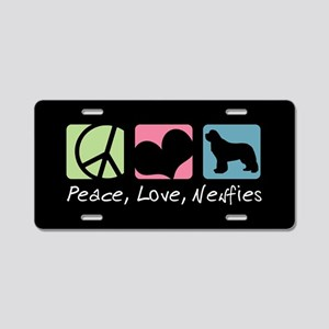 Peace, Love, Newfies Aluminum License Plate