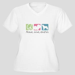 Peace, Love, Newfies Women's Plus Size V-Neck T-Sh