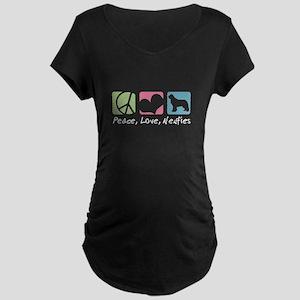 Peace, Love, Newfies Maternity Dark T-Shirt