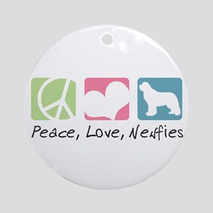 Peace, Love, Newfies Ornament (Round)