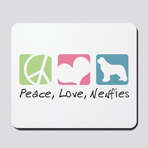 Peace, Love, Newfies Mousepad