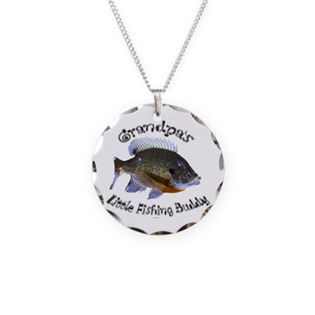 Grandpa's fishing buddy Necklace Circle Charm