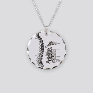 spine Necklace Circle Charm
