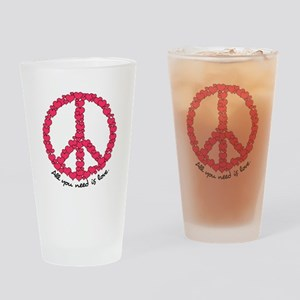 Hearts Peace Sign Drinking Glass