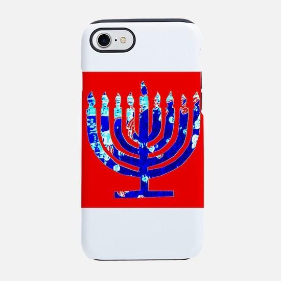 Red Blue Menorah Hanukkah 4Mat iPhone 7 Tough Case