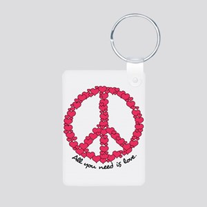 Hearts Peace Sign Aluminum Photo Keychain