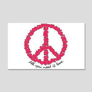 Hearts Peace Sign 22x14 Wall Peel
