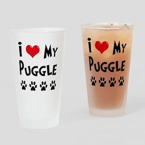 I Love My Puggle Drinking Glass