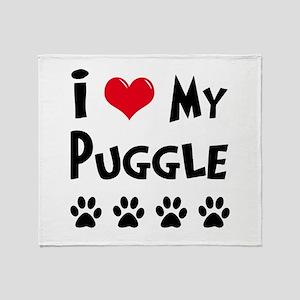 I Love My Puggle Throw Blanket