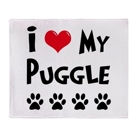 I Love My Puggle Throw Blanket