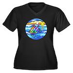 Sea Turtle # Women's Plus Size V-Neck Dark T-Shirt