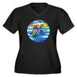 Sea Turtle # Women's Plus Size V-Neck Dark T-Shirt