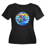Sea Turt Women's Plus Size Scoop Neck Dark T-Shirt