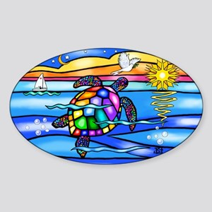 Sea Turtle #8 Sticker (Oval)