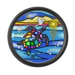 Sea Turtle #8 Large Wall Clock