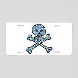 Blue Pixeled Pirate Skull Aluminum License Plate