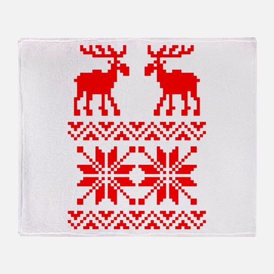 Moose Sweater Christmas Pattern Throw Blanket