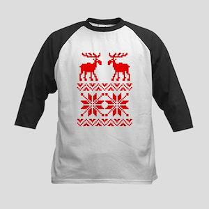 Moose Sweater Christmas Pattern Kids Baseball Jers