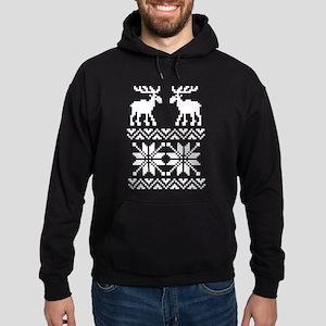 Moose Sweater Christmas Pattern Hoodie (dark)