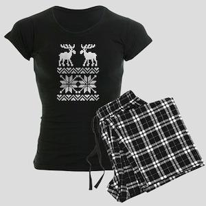Moose Sweater Christmas Pattern Women's Dark Pajam