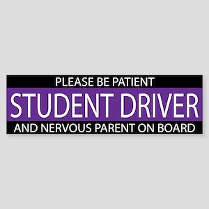 Student Driver Purple White Sticker (Bumper)