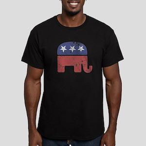 Worn Republican Elephant Men's Fitted T-Shirt (dar
