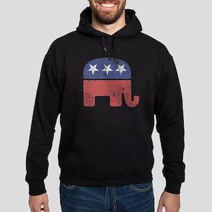 Worn Republican Elephant Hoodie (dark)