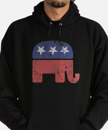 Worn Republican Elephant Hoodie (dark)