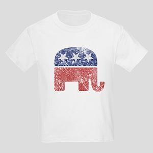 Worn Republican Elephant Kids Light T-Shirt