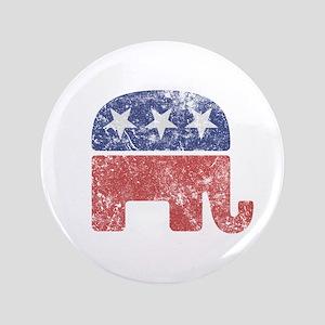 "Worn Republican Elephant 3.5"" Button"