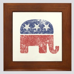 Worn Republican Elephant Framed Tile