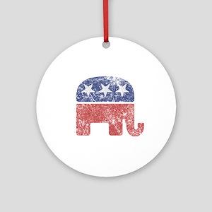 Worn Republican Elephant Ornament (Round)