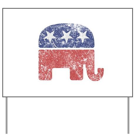 Worn Republican Elephant Yard Sign