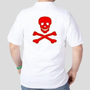 Blood Red Skull & Crossbones Golf Shirt