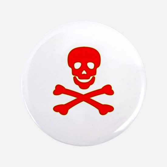 "Blood Red Skull & Crossbones 3.5"" Button"