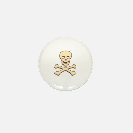 Bone Skull & Crossbones Mini Button