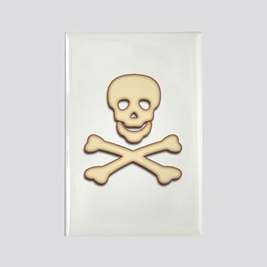 Bone Skull & Crossbones Rectangle Magnet