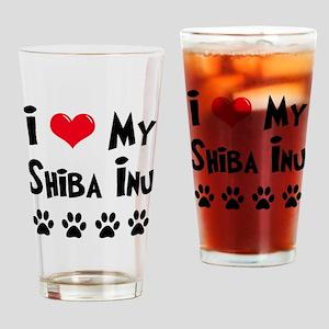 I Love My Shiba Inu Drinking Glass